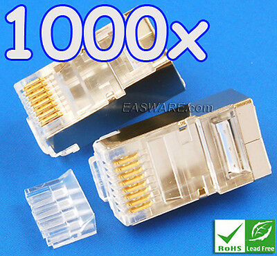 1000x Lot True Cat6 Cat.6 Shielded RJ45 8P8C Modular Plug w/Wire Loader 50µ Gold