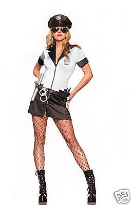 Sexy Halloween 7PC Adult  Women Police Cop Costume ML