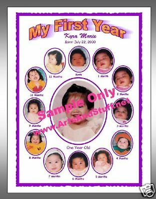 FIRST YEAR PHOTO COLLAGE PICTURE FRAME Purple
