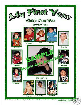 BABY FIRST SCHOOL YEAR PHOTO COLLAGE PICTUR FRAME Green