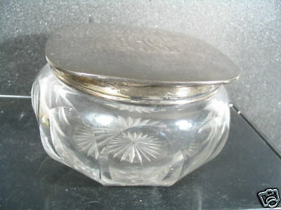 Vintage Glass & Sterling Unger Bros DRESSER JAR