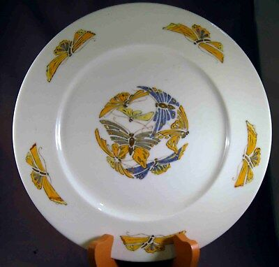 """American Belleek Willets Artist Signed Art Deco Butterfly  10 1/2"""" Charger!"""