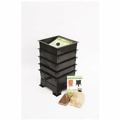 4 Tray Worm Factory COMPOSTER Compost Tea COMPOSTING Vermicomposting BLACK Farm