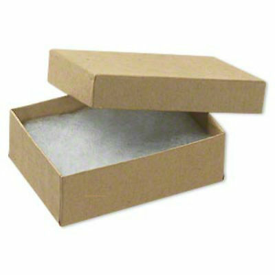"""Jewelry Boxes Gift 100 Kraft Tan Cotton Filled 3"""" X 2"""" x 1""""  Earrings Pins w Lid"""