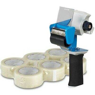 "6 Rolls 2"" x 55 Yard 1.9 mil Clear Packing Tape + 2"" Comfort Grip Tape Gun"