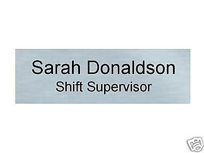 """Name Tag Badge w/ Pin - Brushed Silver Finish 1""""x3"""""""