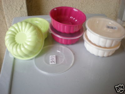 6 Pieces Plastic Jello Creme Caramel Molds New Colorful