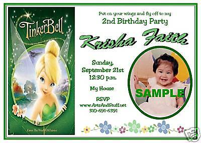GIRLS CUSTOM BIRTHDAY PHOTO INVITATIONS Tinkerbell