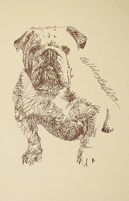 ENGLISH BULLDOG DOG ART Kline Print #128 Your dogs name added free. GREAT GIFT