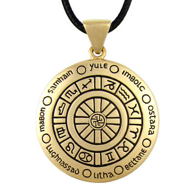 Bronze Wheel of the Year Pendant - Wicca Pagan Sabbats Holidays Wiccan Necklace