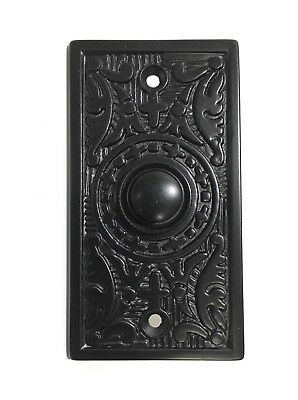 Black Antique Style Victorian Doorbell Button Press Powdercoated Iron