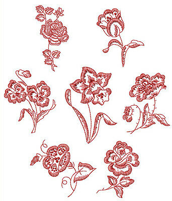 """ABC Designs Redwork Floral Machine Embroidery Designs Set for 4""""x4"""" Hoop"""