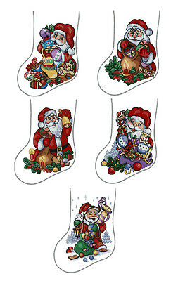 "ABC Designs 5 Christmas Stockings Machine Embroidery Cross Stitch Designs 5""x7"""