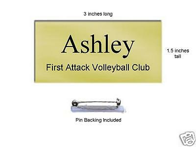 "Name Tag Badge w/ Pin - Brushed Gold Finish 1-1/2""x3"""