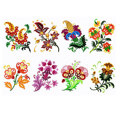 "ABC Designs 8 Fantasy Flowers Machine Eembroidery Designs Set 5""x7"" Hoop"