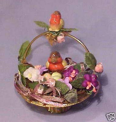 Miniature Basket w/ Robin Bird Nest Eggs - Fabulous!