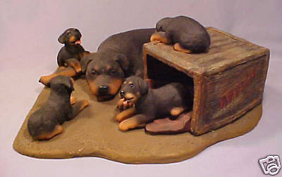 Rottweiler Mother Dog w/ Four Puppies 1998 Figurine