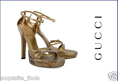 a6553084302 NEW GUCCI GOLD PYTHON PLATFORM SHOES SANDALS size 8.5 as seen on Mariah
