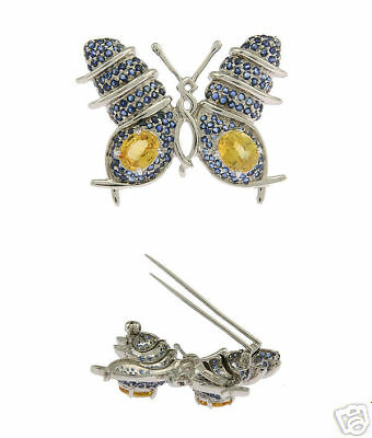 Estate 18K WG Ladies Sapphire Butterfly Pin Brooch