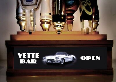 Lighted CORVETTE BAR  7 tap handle kegerator display