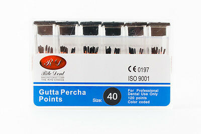 Gutta Percha Points #40 120/Box Vial Endodontic Obturation Dental Emporium