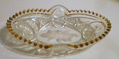 Antique, Clear Cut Glass, Nut or Candy Dish, Gold Rim