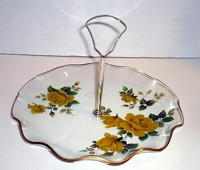 STUNNING!!  Antique, Yellow Rose, Cookie Plate w/ Handle, Gold Trim