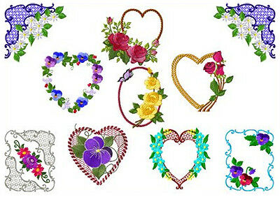 """ABC Designs 9 Beauty Of Flowers Machine Embroidery Designs Set 4""""x4"""" Hoop"""