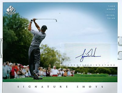 Upper Deck Sp Authenticated Tiger Woods Autograph 8X10. Great Photo Of Tee Shot