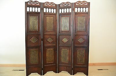 palm tree room divider screen 4 panel wooden frame