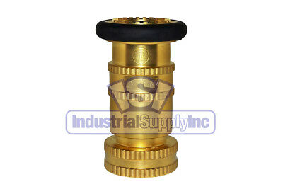 "1-1/2"" NPT Adustable Brass Fire Hose Nozzle w/Bumper Made in USA"