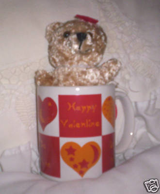"Happy Valentine Love You Mug & 6"" Plush Teddy Bear NEW"