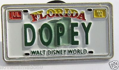 Disney WDW Cast Lanyard Series Dopey License Plate Seven Dwarfs Pin