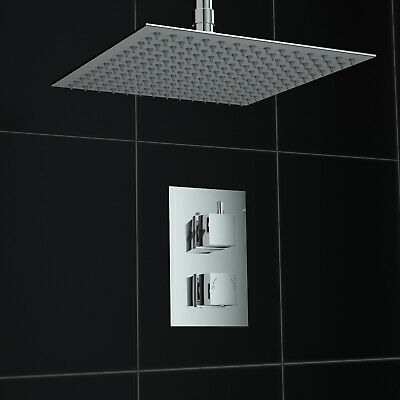 Concealed 1 Way Square Ceiling Mounted 300mm Thermostatic Mixer Shower Kit