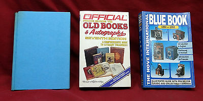 3 Reference Guides; American Silver by M. Stow; Old Books; Blue Book of Cameras