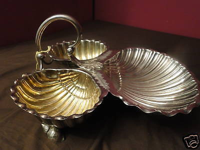 Large Victorian Three Shell Dish Silver Plated Circa 1875, English, Antique,