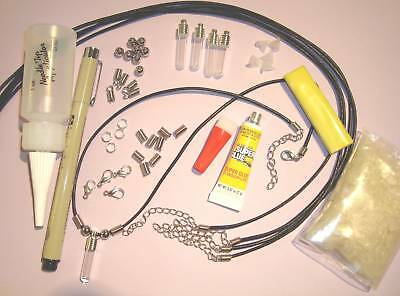 Name on Rice Kit make 5 black leather necklace includes rice vials oil pen +more