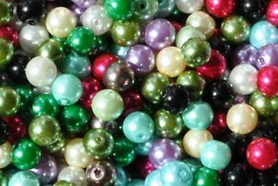 100pcs 8mm assorted round glass pearl beads for jewel making