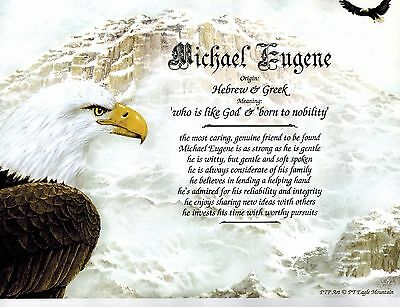 EAGLE MOUNTAIN Valley Print Personalized Name Meaning Poem