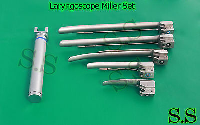 5 Laryngoscope Miller Set, AA handle, Miller blades