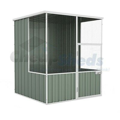 Absco Flat Roof Aviary 1.52m x 1.48m Colorbond Coop with Wide Mesh Cage