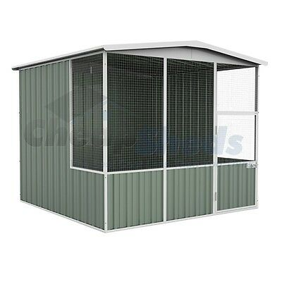 Absco Gable Roof Aviary 2.3m x 2.2m Colorbond Coop Wide Mash Cage 30 Yr Warranty