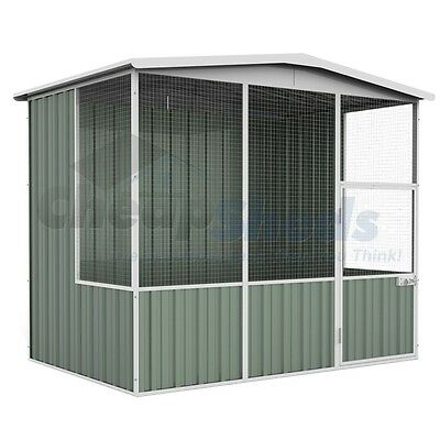 Absco Gable Roof Aviary 2.3m x 1.5m Colorbond Coop Wide Mash Cage 30 Yr Warranty