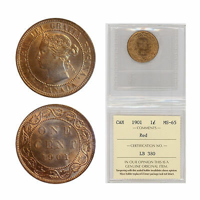 1901 Canada One Cent Coin - Graded Red MS-65 by ICCS- Queen Victoria