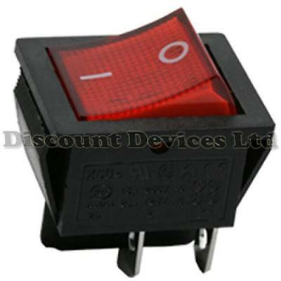 DPST Rocker Switch  2 Circuits 16A 250V off-on I-0 Sign Red Light