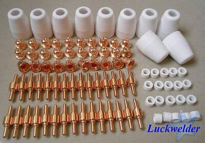 100pcs Tip Electrodes Nozzles Air Plasma Cutter Consumable for 40A PT-31 Torch