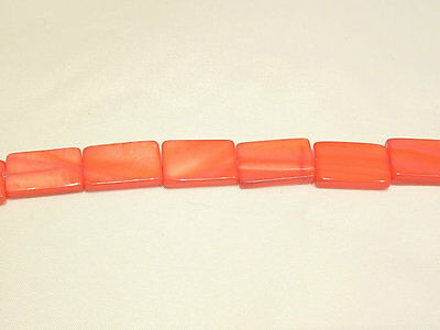 10 x Natural Dyed Shell Beads:BNSP18 Orange Oblong