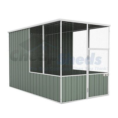 Absco Flat Roof Aviary 1.52m x 2.96m Colorbond Cage Wide Mash Coop 30Yr Warranty