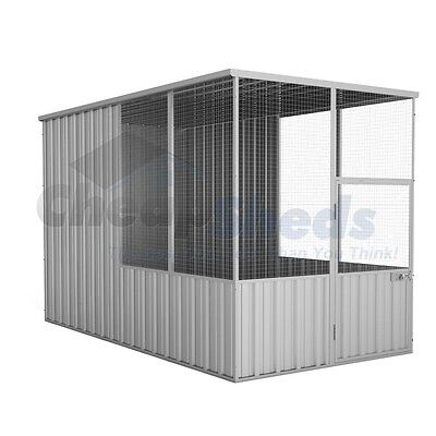 Absco Flat Roof Aviary 1.52m x 2.96m Zincalume Cage Coop 30 Yr Warranty