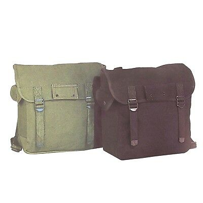 Wwii Style Musette Bag Canvas Shoulder/backpack Sml/lrg-Olv/black